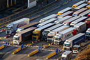 Lorries line up at control barriers for departure inside the Eastern Dock of the Port of Dover is where the cross channel port is situated with ferries departing here to go to Calais in France on the 29th of January 2020, Dover, Kent, United Kingdom. Dover is the nearest port to France with just 34 kilometres (21 miles) between them. It is one of the busiest ports in the world. As well as freight container ships it is also the main port for P&O and DFDS Seaways ferries.  (photo by Andrew Aitchison / In pictures via Getty Images)