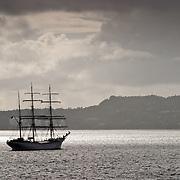 Three weeks aboard the Kong Harald. Hurtigruten, the Coastal Express. Bergen. Sailship the barque Statsraad Lehmkuhl in the harbour of Bergen.