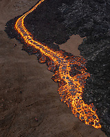 Geldingadalir (Fagradalsfjall) Volcanic Eruption, April 13th 2021. Drone shot.