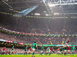 Alun Wyn Jones of Wales claims the line out <br /> <br /> Photographer Simon King/Replay Images<br /> <br /> Six Nations Round 5 - Wales v Ireland - Saturday 16th March 2019 - Principality Stadium - Cardiff<br /> <br /> World Copyright © Replay Images . All rights reserved. info@replayimages.co.uk - http://replayimages.co.uk