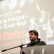 """Dave Zirin, writer of the book""""The John Carlos Story"""" Resistance: The best Olympic Spirit. With John Carlos, Doreen Lawrence, Janet Alder and others."""