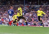 Teddy Sheringham (Portsmouth) scores goal no 1 past Alpay.  Portsmouth v Aston Villa. 16/8/2003. Credit : Colorsport/Andrew Cowie.