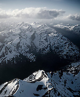 The Fuegian Andes as seen from a plane. Tierra del Fuego, Argentina.