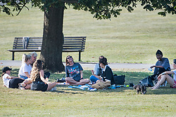 © Licensed to London News Pictures. 21/09/2020. London, UK. A group of nine people gather on Primrose Hill in North London as further lockdown measures are proposed for the capital. The UK government is preparing for a possible second nationwide lockdown to fight the spread of COVID-19. Photo credit: Ben Cawthra/LNP