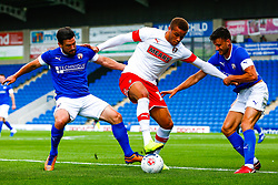 Will Evans and Johnathon Smith of Chesterfield put pressure on Carlton Morris of Rotherham United - Mandatory by-line: Ryan Crockett/JMP - 20/07/2019 - FOOTBALL - Proact Stadium - Chesterfield, England - Chesterfield v Rotherham United - Pre-season friendly