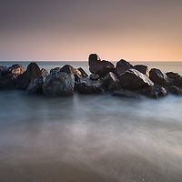 Not much of a sunrise at Happisburgh so headed back inland chasing mist, some nice colours on the rocks though