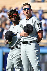 May 28, 2018 - Los Angeles, CA, U.S. - LOS ANGELES, CA - MAY 28: Philadelphia Phillies left fielder Rhys Hoskins (17) and Philadelphia Phillies Center field Odubel Herrera (37) stand for the national anthem during a MLB game between the Philadelphia Phillies and the Los Angeles Dodgers on Memorial Day, May 28, 2018 at Dodger Stadium in Los Angeles, CA. (Photo by Brian Rothmuller/Icon Sportswire) (Credit Image: © Brian Rothmuller/Icon SMI via ZUMA Press)