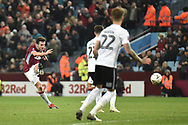 Aston Villa midfielder John McGinn (7) takes a shot at goal during the The FA Cup 3rd round match between Aston Villa and Swansea City at Villa Park, Birmingham, England on 5 January 2019.
