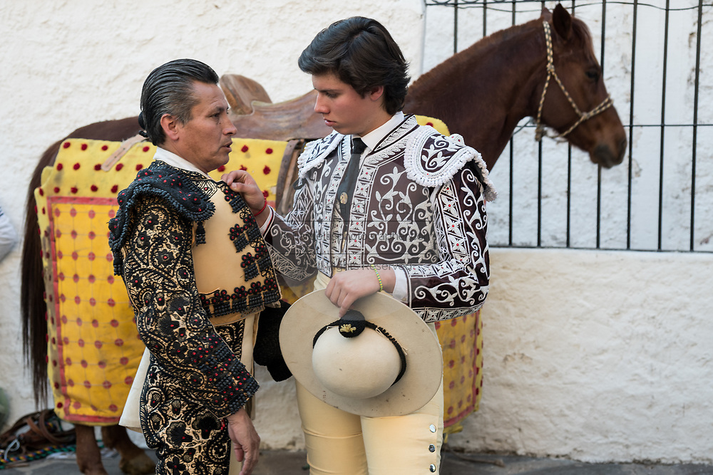 Mexican Picadors prepare for the bullfights at the Plaza de Toros in San Miguel de Allende, Mexico. Picadors ride horses surrounded by a peto, a mattress-like protection that greatly minimizes damage to the animal during the bullfight.