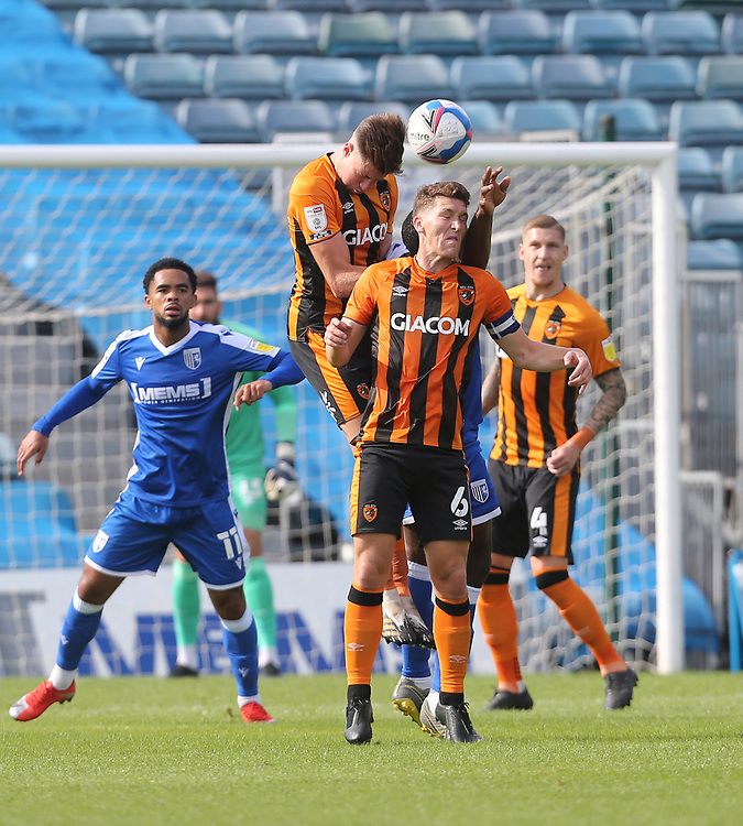 Hull City's Reece Burke and Richard Smallwood challenge for the ball<br /> <br /> Photographer Rob Newell/CameraSport<br /> <br /> The EFL Sky Bet League One - Gillingham v Hull City - Saturday September 12th 2020 - Priestfield Stadium - Gillingham<br /> <br /> World Copyright © 2020 CameraSport. All rights reserved. 43 Linden Ave. Countesthorpe. Leicester. England. LE8 5PG - Tel: +44 (0) 116 277 4147 - admin@camerasport.com - www.camerasport.com