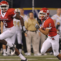 Dec 19, 2009; St. Petersburg, Fla., USA; Rutgers wide receivers Tim Brown (2) and Mohamed Sanu (6) run untouched for a touchdown during NCAA Football action in Rutgers' 45-24 victory over Central Florida in the St. Petersburg Bowl at Tropicana Field.