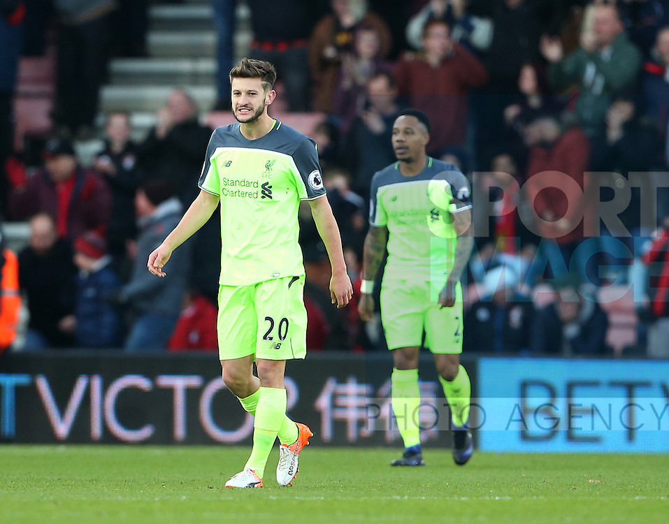 Liverpool's Adam Lallana looks on dejected after Bournemouth's  third goal during the Premier League match at the Vitality Stadium, London. Picture date December 4th, 2016 Pic David Klein/Sportimage