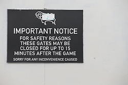 Signage before Derby County's and Burton Albion's match at Pride Park