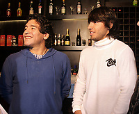 "DIEGO MARADONA with Atletico de Madrid soccer player SERGIO KUN AGUERO, where together in family to a music show in Buenos June 27, 2008, Argentina <br /> The Show was in Avellaneda, with the performance of the Tropical CUMBIA music group Los Leales"".<br /> SERGIO AGUERO are in LOVE with MARADONA daughter GIANINNA.<br /> © PikoPress"