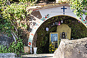 Religious shrine used by shamans and brujos, (witches) at Reserva Ecologica de Nanciyaga on Lake Catemaco, Veracruz, Mexico.