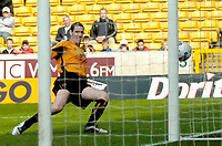 Photo: Ed Godden.<br />Wolverhampton Wanderers v Brighton & Hove Albion. Coca Cola Championship. 22/04/2006. Wolves Captain Mark Kennedy puts the ball wide of the goal from close range.