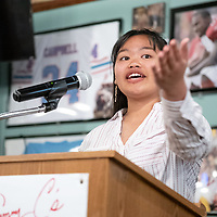 Gallup High School senior Janelle Torres thanks her family for attending the senior of the year award luncheon at Sammy C's in Gallup on Apr. 17.