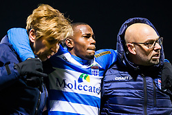 (L-R) caretaker Jenny Venema of PEC Zwolle, Ruben Ligeon of PEC Zwolle, caretaker Erwin Vloedgraven of PEC Zwolle during the Dutch Eredivisie match between PEC Zwolle and Vitesse Arnhem at the MAC3Park stadium on January 27, 2018 in Zwolle, The Netherlands