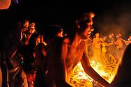 "Celebration around the burned man at ""Mid Burn"", the Israeli ""Burning Man Festival"" held at ""Habonim"" beach north of Israel October 4-6, 2012."