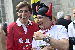 May 27, 2018 - Mons, BELGIUM - Mons Mayor Elio Di Rupo and a man wearing devils' horns, pose for a picture at the Ducasse - Doudou folkloric festival in Mons, Sunday 27 May 2018. The Doudou feast compromises two parts, a procession with the shrine of Waltrude and the fight between Saint George and the dragon. The Doudou was recognized in 2005 by UNESCO as one of the masterpieces of the Oral and Intangible Heritage of Humanity. ..BELGA PHOTO LAURIE DIEFFEMBACQ (Credit Image: © Laurie Dieffembacq/Belga via ZUMA Press)