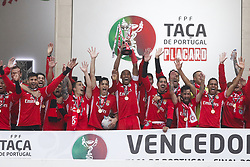 May 28, 2017 - Lisbon, Portugal - Benfica's defender Luisao holds up the cup to celebrate with teammates after winning the Portugal's Cup at the end of the final football match SL Benfica vs Vitoria SC at Jamor stadium in Oeiras, outskirts of Lisbon on May 28, 2017. (Credit Image: © Carlos Palma/NurPhoto via ZUMA Press)