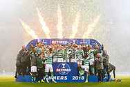 Celtic players celebrate with the Betfred Cup trophy following their victory in the Betfred Cup Final between Celtic and Aberdeen at Celtic Park, Glasgow, Scotland on 2 December 2018.