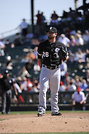 TEMPE, AZ - MARCH 04:  Jesse Crain #26 of the Chicago White Sox pitches against the Los Angeles Angels on March 04, 2011 at Tempe Diablo Stadium in Tempe, Arizona. The Angels defeated the White Sox 3-1.  (Photo by Ron Vesely)