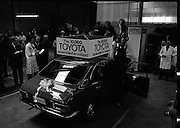 Toyota roll out 10,000th car assembled in Ireland..(L18)..1977..26.05.1977..05.26.1977..26th May 1977..Today saw the rolling out of the 10,000th car to come off the assembly line at Toyota Irl.,Ltd. The car,a Corolla,is part of a range that has made Toyota the fourth best selling range of cars in Ireland...Workers celebrate as Mr Tim Mahony is pictured driving the car off the ramp at the assembly plant at John F Kennedy Park, Dublin.