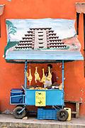 A Mexican food vendor sells fresh chickens under a mural of the El Tajin pyramid outside the central Market in Papantla, Veracruz, Mexico.