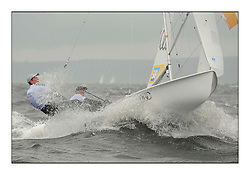 470 Class European Championships Largs - Day 2.Wet and Windy Racing in grey conditions on the Clyde...GER10, Ferdinand GERZ, Patrick FOLLMANN, Deutscher Touring Yacht Club..