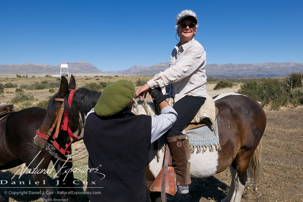 Shirley horseback riding at the ranch in El Calafate, Patagonia, Argentina.