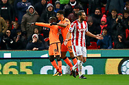 Sadio Mane of Liverpool (l) celebrates with his teammate Dominic Solanke of Liverpool after scoring his teams 1st goal. Premier league match, Stoke City v Liverpool at the Bet365 Stadium in Stoke on Trent, Staffs on Wednesday 29th November 2017.<br /> pic by Chris Stading, Andrew Orchard sports photography.