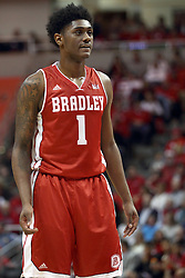 17 January 2015:   Donte Thomas during an NCAA MVC (Missouri Valley Conference men's basketball game between the Bradley Braves and the Illinois State Redbirds at Redbird Arena in Normal Illinois