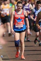 Amateur and professional athletes alike brave the hot April weather in the Virgin London Marathon London, April 22 2018.