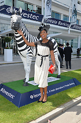 DENISE LEWIS at the Investec Derby 2015 at Epsom Racecourse, Epsom, Surrey on 6th June 2015.