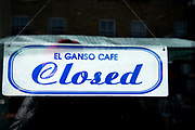 Daily life continues but not as as normal with some rules and restrictions in Hackney on 21st March 2020 in London, United Kingdom. Broadway market on a Saturday morning,  sign on El Ganso cafe, closed, in accordance with government order.