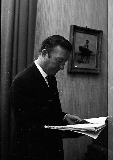 Mr. Charles Haughey T.D., Minister for Finance, packing his budget speech prior to entering Dáil Eireann..07.05.1969