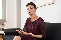 16 MAY 2016, BERLIN/GERMANY:<br /> Sahra Wagenknecht, MdB, Die Linke, Fraktionsvorsitzende DIe Linke Bundestagsfraktion, waehrend einem Interview, in ihrem Buero, Jakob-Kaiser-Haus, Deutscher Bundestag<br /> IMAGE: 20170516-02-037<br /> KEYWORDS: Büro