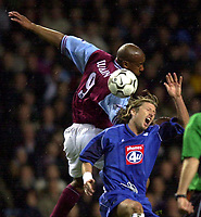 Photo. Richard Lane. <br />Aston Villa v Birmingham City. Barclaycard Premiership. 03/03/2003<br />Dion Dublin and Robbie Savage challenge for the ball.