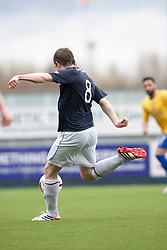 Falkirk's Blair Alston scoring their third goal.<br /> half time : Falkirk 3 v 0 Cowdenbeath, Scottish Championship game played today at The Falkirk Stadium.<br /> © Michael Schofield.