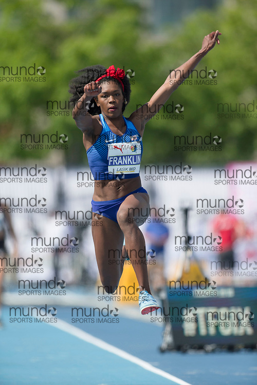 Toronto, ON -- 12 August 2018: Tori Franklin (USA), silver in triple jump at the 2018 North America, Central America, and Caribbean Athletics Association (NACAC) Track and Field Championships held at Varsity Stadium, Toronto, Canada. (Photo by Sean Burges / Mundo Sport Images).