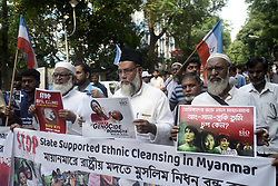 September 7, 2017 - Kolkata, West Bengal, India - Activist rallied with poster and shout slogan against Myanmar Government and Suu Kyi in Kolkata. Activist of Student Islamic Organization of India (SIO) and Jamaat-e-Islami Hind protests against Killing of Rohingya Muslim in front of Myanmar Consulate on September 7, 2017 in Kolkata. (Credit Image: © Saikat Paul/Pacific Press via ZUMA Wire)