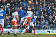 Blackpool Midfielder, Jay Spearing (44) beats Portsmouth Forward, Conor Chaplin (19) to the ball during the EFL Sky Bet League 1 match between Portsmouth and Blackpool at Fratton Park, Portsmouth, England on 24 February 2018. Picture by Adam Rivers.