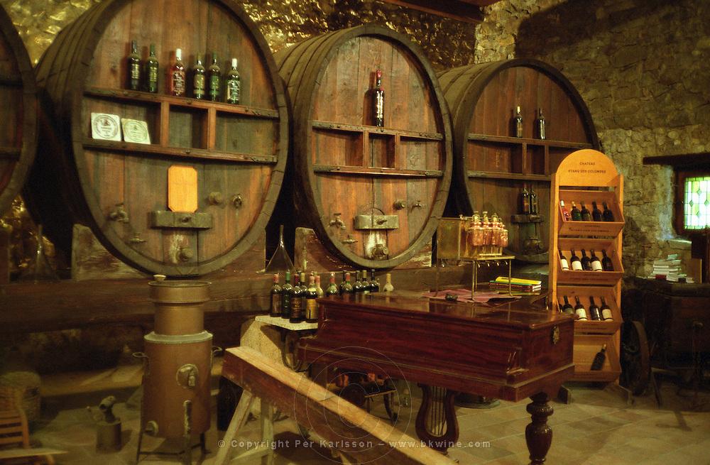 Chateau Etang des Colombes Lezignan Corbieres. Les Corbieres. Languedoc. Barrel cellar. Wooden fermentation and storage tanks. France. Europe.