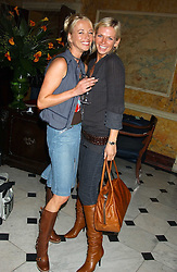 Left to right, SARA COX and ZOE BALL at a party following the TopShop Unique fashion show held at Home House, Portman Square, London on 19th September 2005.<br /><br />NON EXCLUSIVE - WORLD RIGHTS