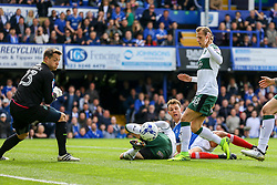 Kal Naismith of Portsmouth attempt on goal goes wide - Mandatory by-line: Jason Brown/JMP - 14/04/2017 - FOOTBALL - Fratton Park - Portsmouth, England - Portsmouth v Plymouth Argyle - Sky Bet League Two