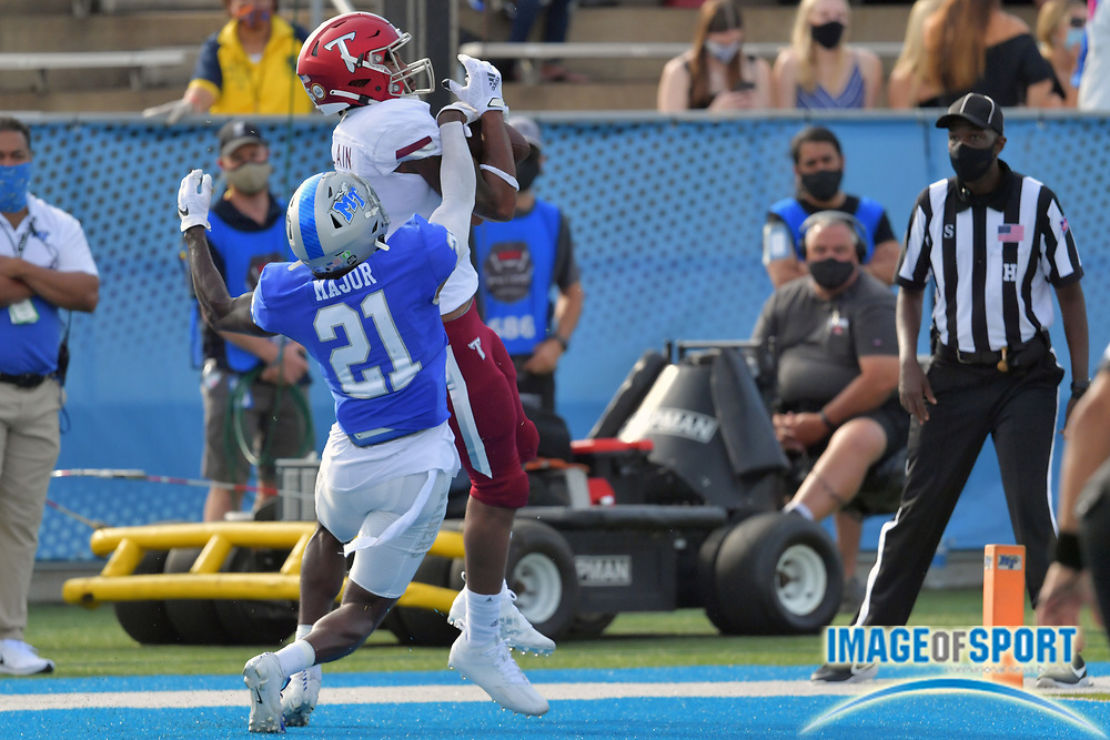 """Troy Trojans wide receiver Khalil McClain (6) catches a pass for a touchdown against Middle Tennessee Blue Raiders corner back Kenneth Major (21) during the first half at Johnny """"Red"""" Floyd Stadium in Murfreesboro, Tenn., Saturday, Sept. 19, 2020. (Jim Brown/Image of Sport)"""