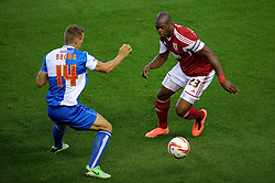 Bristol City Forward Marlon Harewood (ENG) is challenged by Bristol Rovers Defender Lee Brown (ENG) during the first half of the match - Photo mandatory by-line: Rogan Thomson/JMP - Tel: 07966 386802 - 04/09/2013 - SPORT - FOOTBALL - Ashton Gate, Bristol - Bristol City v Bristol Rovers - Johnstone's Paint Trophy - First Round - Bristol Derby
