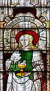 Sixteenth century stained glass windows inside church of Saint Mary, Fairford, Gloucestershire, England, UK window 10 Saint John