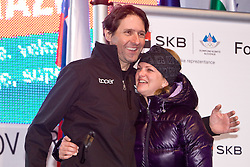 Andrea Massi and Spela Pretnar at reception of Slovenian 2-times silver medalist alpine skier Tina Maze at Preseren's square when she came from Vancouver after Winter Olympic games 2010, on February 28, 2010 in Center of Ljubljana, Slovenia. (Photo by Vid Ponikvar / Sportida)